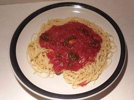 Spaghetti and sauce plate