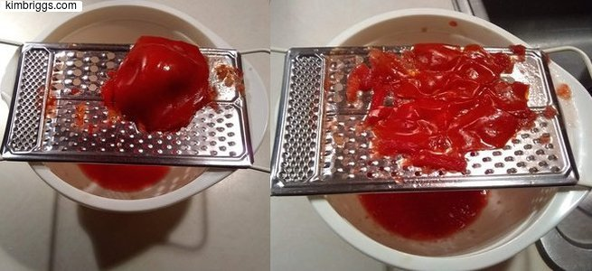 Grating tomato for sauce